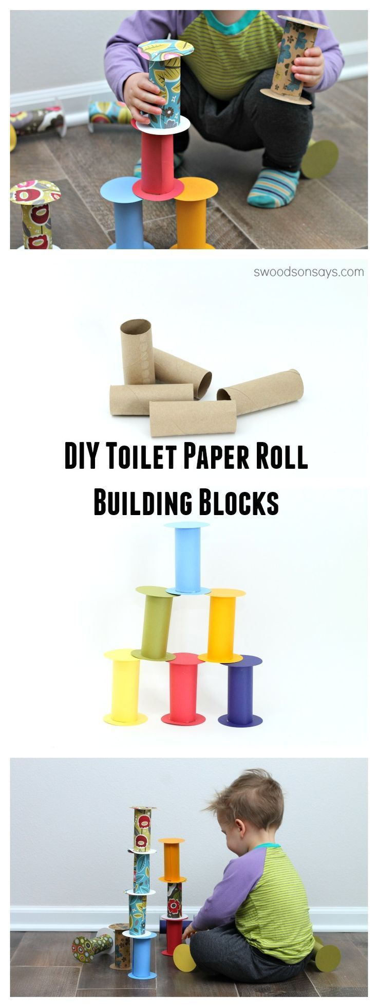 DIY Recycled Toilet Paper Roll Building Blocks - a quick, easy, free toy to keep you from going crazy inside this winter. Recycled toddler toys are the best!