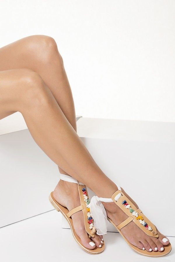 Greek Leather Sandals embellished with multicolored mother of pearls, Lydia