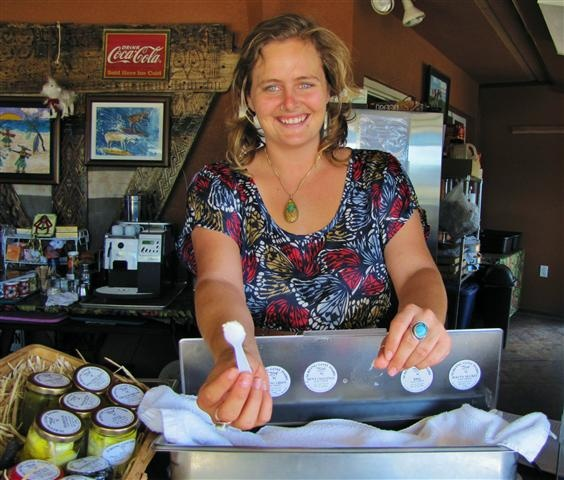 Sampling cheese at Surfing Goat Dairy, Maui