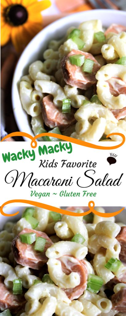 Vegan macaroni salad! Vegan macaroni salad! Wacky Macky is a vegan, kid friendly twist on traditional macaroni salad! Macaroni, vegan mayo, and Smart Dogs mixed together create a pasta salad that tastes surprisingly like a bologna sandwich! thehiddenveggies.com