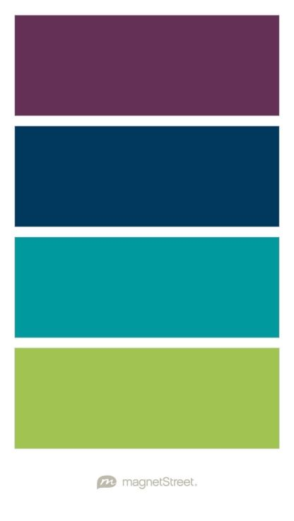 Eggplant, Navy, Teal, and Lime Wedding Color Palette