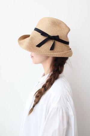 画像1: 再入荷!! BOXED HAT -11cm brim grosgrain ribbon-(BK)