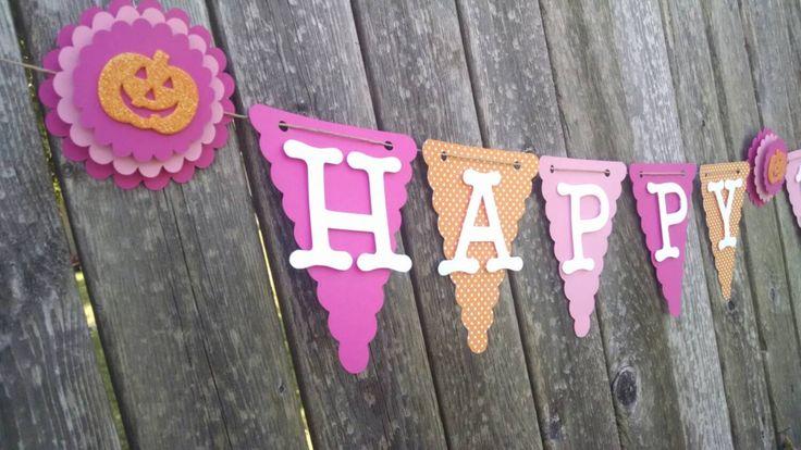 Pumpkin theme banner, Pink and orange Birthday Banner, Happy 1st Birthday by FabulouspaperDesigns on Etsy https://www.etsy.com/listing/248643995/pumpkin-theme-banner-pink-and-orange