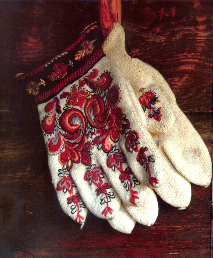 Woollen gloves worn by bride, groom and churchgoers in winter. Norway.