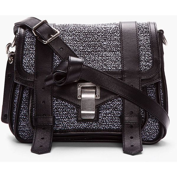 PROENZA SCHOULER Black Tweed Leather-Trimmed Ps1 Pouch (19.125 UYU) ❤ liked on Polyvore featuring bags, proenza schouler pouch, proenza schouler messenger bag, magnetic pouch, pouch bag and proenza schouler