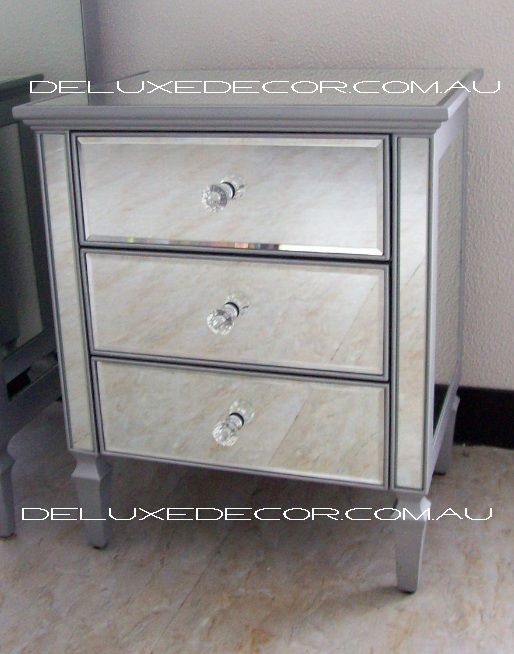 Clair Silver Edge SILVER Mirrored 3 Drawer Bedside Side Table 2620S http://deluxedecor.com.au/products-page/clair-collection/clair-black-mirrored-mirror-3-drawer-bedside-side-table-2620b-duplicate/