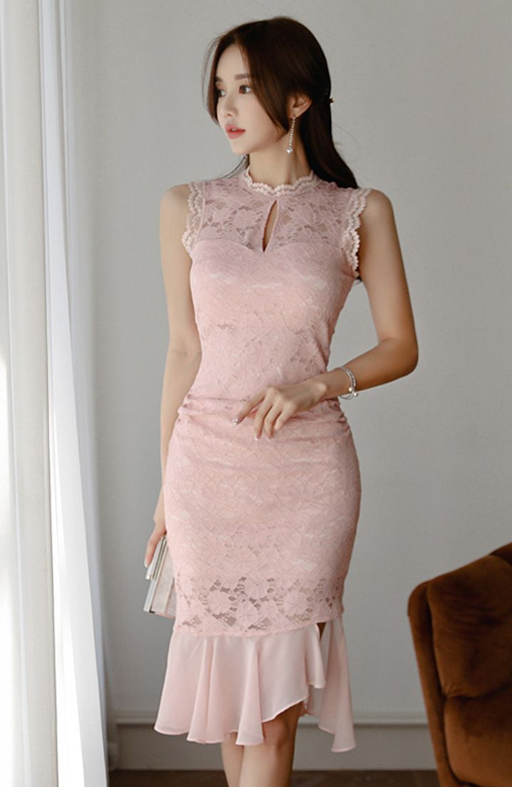 Stylish Stand Collar Fitted Sleeveless Dress