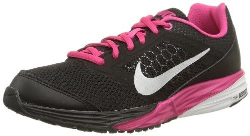 Nike Girl's Tri Fusion Run Big Kids Running Shoe-Black/Vivid Pink-4.5