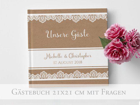 Hochzeit Gastebuch Elegant Lace Mit Fragen Etsy Gastebuch Hochzeit Hochzeit Platzkartenhalter