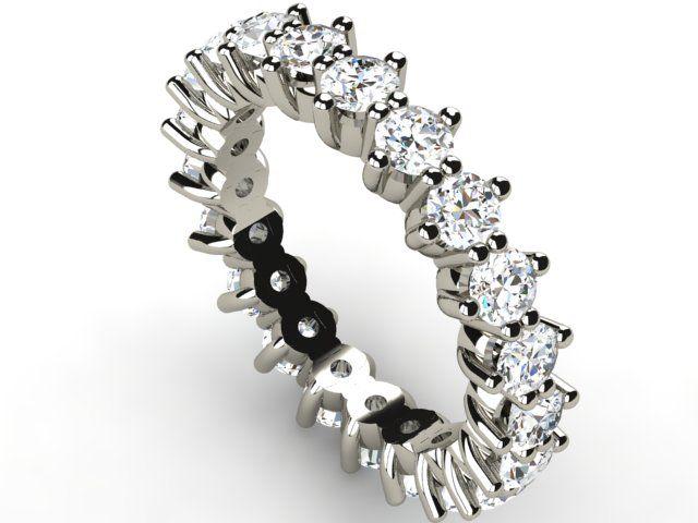 White Gold Full Eternity Diamond Ring 2.52 ct Vs1/H - Paul Jewelry