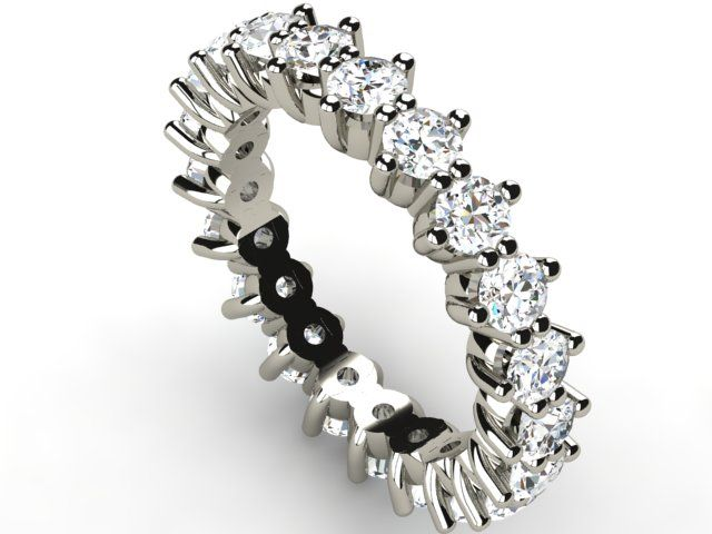 White Gold Full Eternity Diamond Ring 2.52 ct Vs1/H - Paul Jewelry