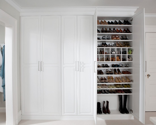 Love the idea of shoes (which can look cluttered en masse) enclosed behind doors. it creates the clean look we love.