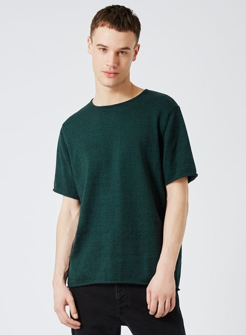 Teal Twist Oversized Knitted T-Shirt - Men's Jumpers & Cardigans - Clothing - TOPMAN