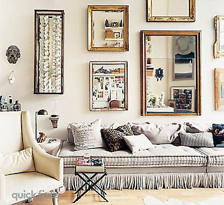 mirrors mirrors everywhere!Decor, Ideas, Mirrors Wall, Couch, Livingroom, Gallery Walls, Living Room, Design, Mirrors Mirrors