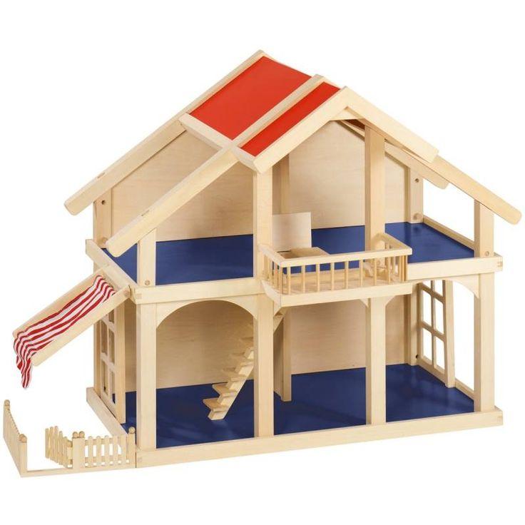 Houten poppenhuis 2 etages met zonnescherm | Speelgoed Kiki