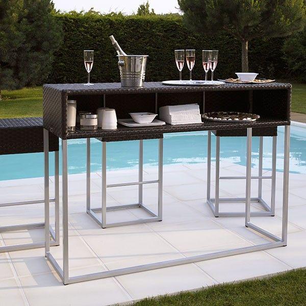 Bar en résine tressée + 3 tabourets Carpe Diem #jardin #garden #bar #table #design #modern #élégance #black #outdoor #piscine