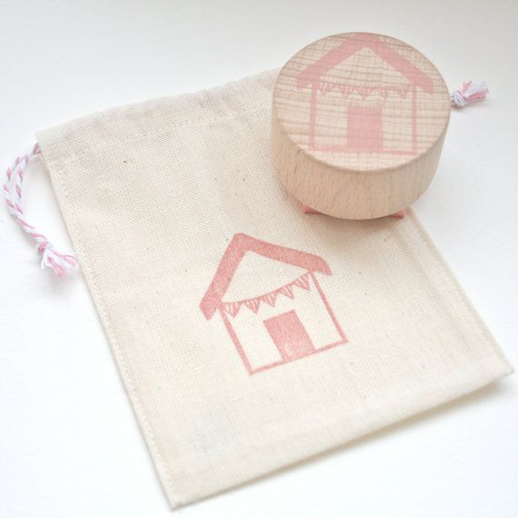 Beach Hut Stamp  Hand Carved Rubber Stamp by by LittleStampStore