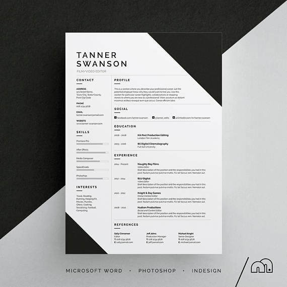 CV Template Tanner Resume/CV Template | Word | Photoshop | InDesign | Professional Resume Design | Cover Letter | Instant Download | Easy to edit layout | Professional | Minimalist Design [L]