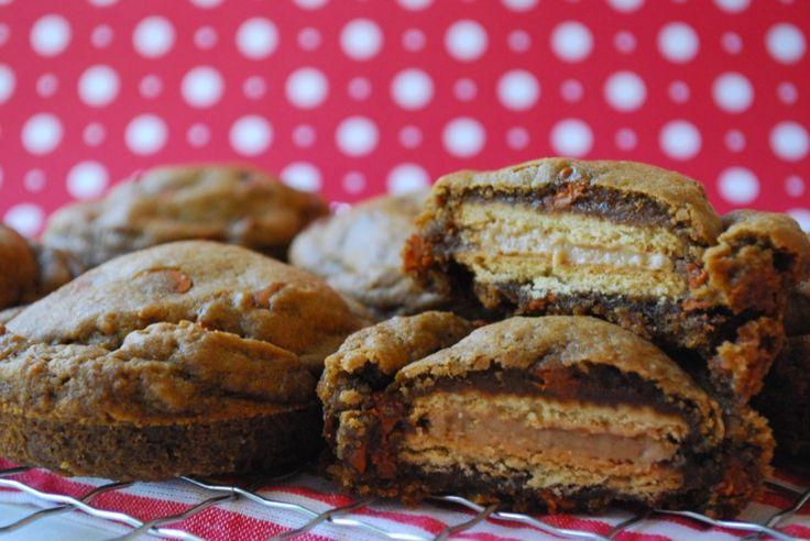 Deep Dish Gingerbread Oreo-Stuffed Cookies | The Domestic Rebel