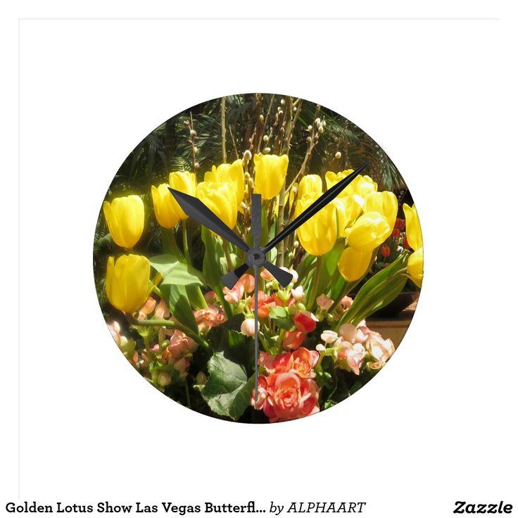 Golden Lotus Show Las Vegas Butterfly Garden Round Clock