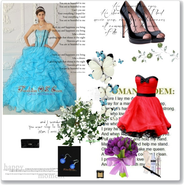 """""""Beautiful Baby Blue Prom Dress Strapless Organza Appliques Ball Gown"""" by fancydressesforyou ❤ liked on Polyvore"""