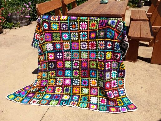 My first granny square blanket - finally complete. :-)