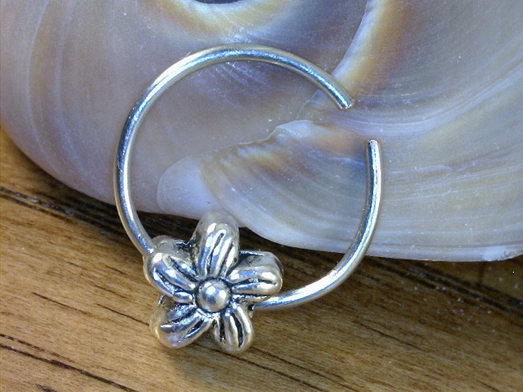 Nose Ring w/ Pandora Style (Daisy) Charm - 11mm Endless Nose Ring (Argentium Sterling Silver) - Dual Use (Pierced & Non-Pierced)). $7.50, via Etsy.