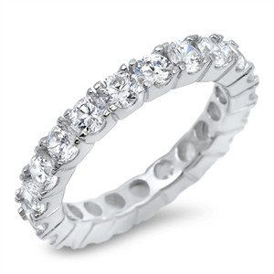 A Perfect 11TCW Solitaire Cut Russian Lab Diamond Wedding Bands Eternity Infinity Ring
