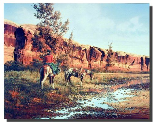 This poster depicts the inspired image of western cowboy sitting on a horse walking through a valley with mountain beyond will enhance your room instantly. This poster is just perfect for your living room and lends an artistic touch to your living room interiors. It would spread its own charm into your place. This western inspired art print poster will be a perfect gift for horse riding lovers. It would also make a great gift for those who is inspired by the western lifestyle.