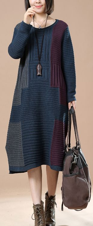 Navy plus size woman sweaters long knit dresses