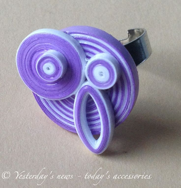 Quilled owl ring by Yesterday's news - today's accessories