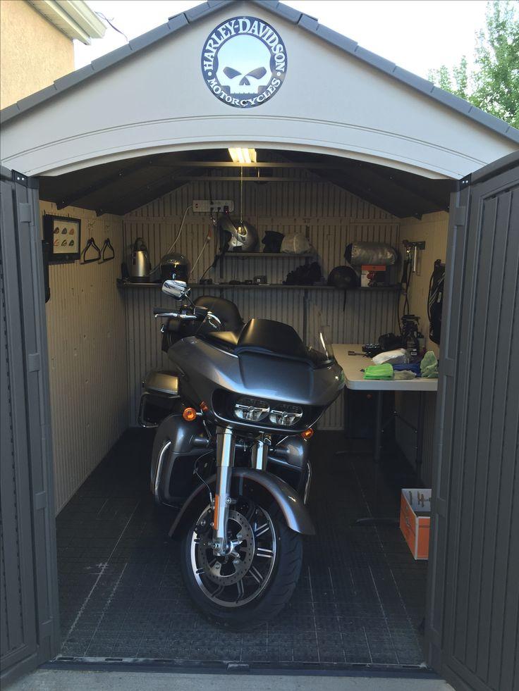 "My 2016 FLTRU Road Glide Ultra home in the ""Harley Barn"""