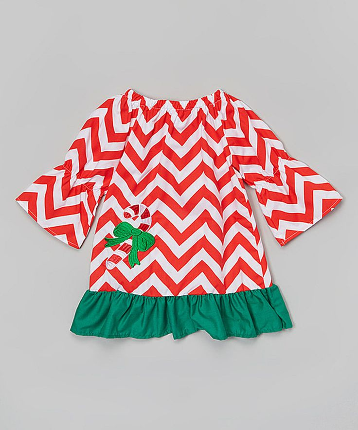 Love this Sweet Cheeks Red & Green Chevron Candy Cane Dress - Toddler & Girls by Sweet Cheeks on #zulily! #zulilyfinds