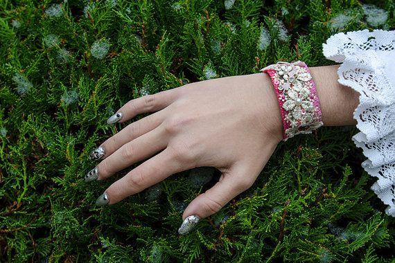 LOLITA BRACELET pink/white bridal cuff wedding by DarkDesireStore
