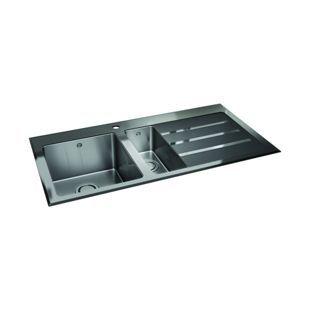 Wickes Rae 1.5 Bowl Rhd Kitchen Sink Stainless Steel + Black Glass | Wickes.co.uk