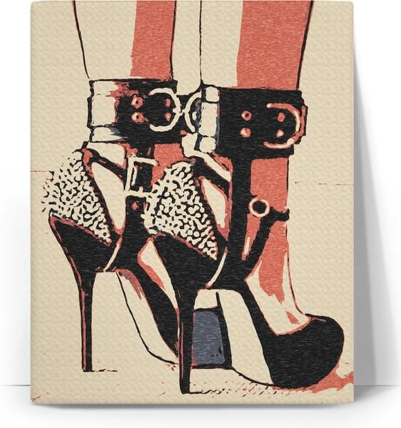 Good girl knows what to wear, erotic #BDSM #canvas #art #print, sexy #fetish heels and #bondage #cuffs - item printed by RageOn.com, also available at casemiroarts.com