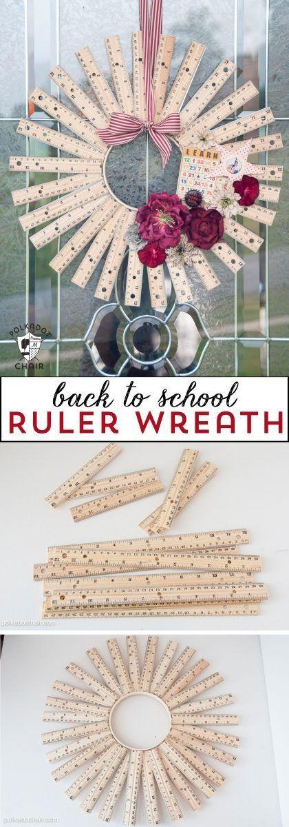 Back to School Craft Idea or Teacher Appreciation gift, a personalized DIY Ruler Wreath!