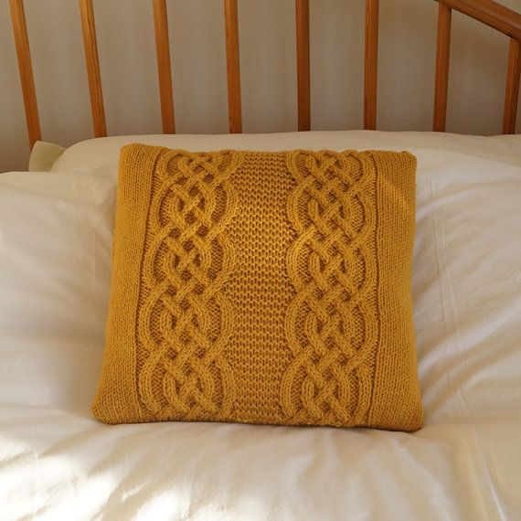 Knitted pillow cushion cover Golden Yellow 35cm  by Lindyknits, £28.00