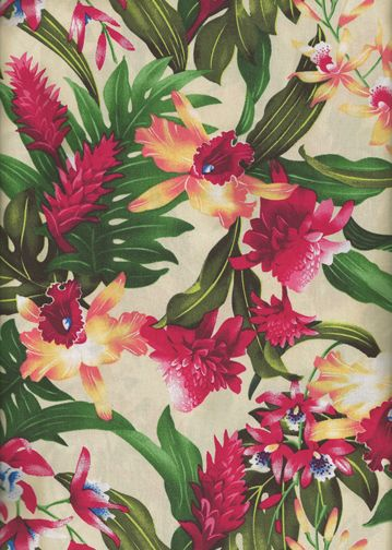 30wanaao - Tropical Hawaiian Fabrics Hawaiian Tropical Leaves,    Torch Ginger and Hibiscus flowers on a cotton broadcloth apparel fabric.