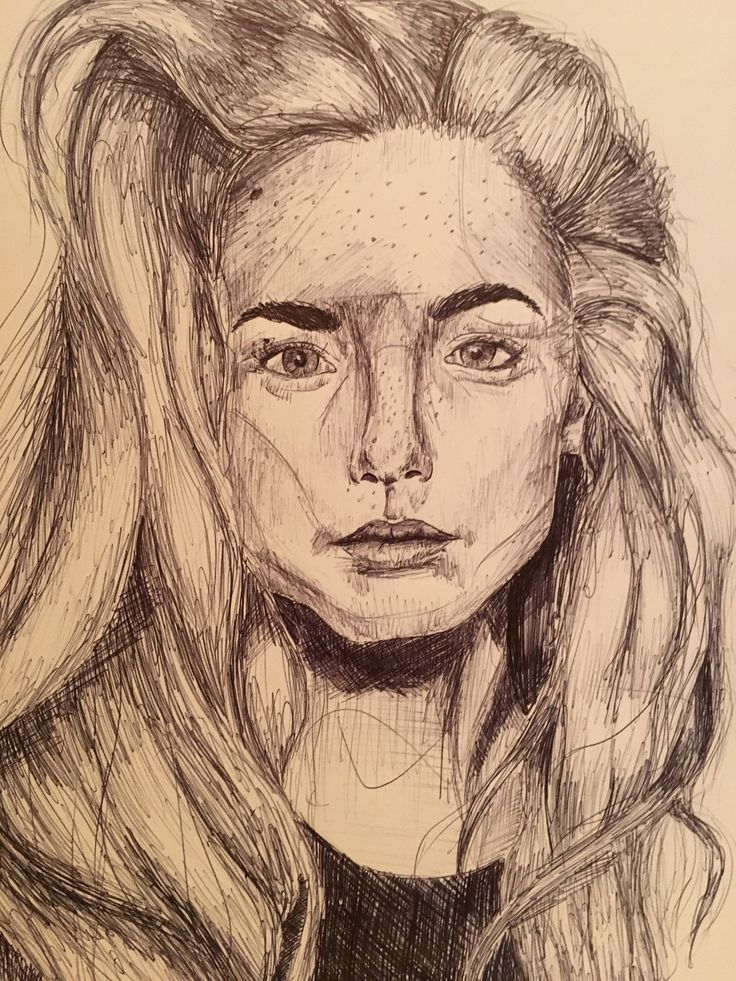 Excited to share the latest addition to my #etsy shop: Biro sketch of female portrait on plain white A3 #potrait #sketch