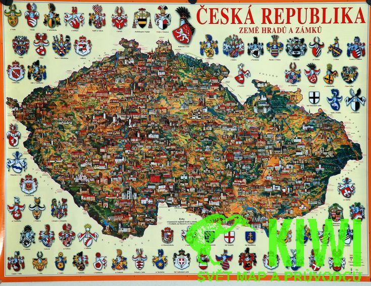 nástěnná mapa ČR hradů a zámků