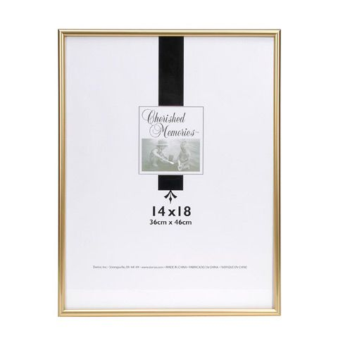 Cherish large photos, prints and other artwork in this elegant gold picture frame. Hang individually or combine with other frames to create a gallery wall. 16 x 20 inches Gold Plastic Includes sawtooth hanging hardware (pre-attached) Hang vertically or horizontally