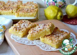Рецепт: Лимонные квадратики с кокосовой крошкой