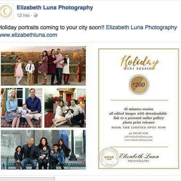 A creation from our talented photographer, Elizabeth Luna Photography. Don't miss her holiday mini session and make a great memories with your beloved ones! Good luck for your mini session!