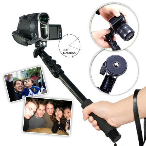 First2savvv ZP-188A01 black Self-portrait extendable telescopic handheld Pole Arm monopod Camcorder/Camera/mobile phone tripod mount adapter bundle for panasonic Lumix HC-V500M
