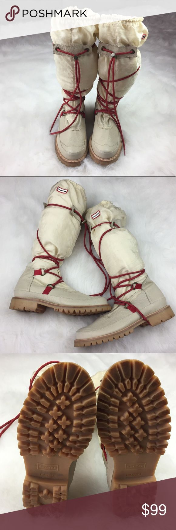 Summit Hunter Amazonas Cream Boots size 9 Summit Hunter Amazonas Boots size 9.  Cream/Ivory Color with Red/Black Laces.  Elastic at top with Hunter Logo on side.  Boots are waterproof and have soft textile lining.  These have been worn a few times so there are a few spots that can easily be spot cleaned but overall they are in gently used condition and are a hard to find boot.   Please see picture's for details.  Thank You for shopping with us, we appreciate your business.  Please view our…