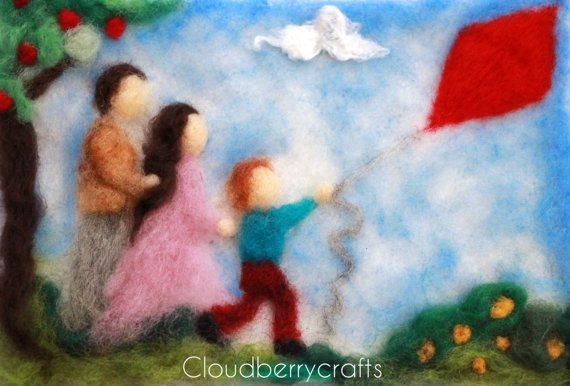 Needle Felted Tapestry Wool Painting Boy Kite by CloudBerryCrafts, $75.00