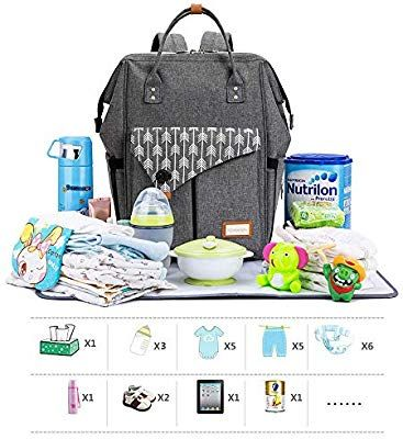 7df6cbe369 Lekebaby Baby Nappy Changing Backpack Bag with Changing Mat, Arrow Print,  Grey: Amazon.co.uk: Baby