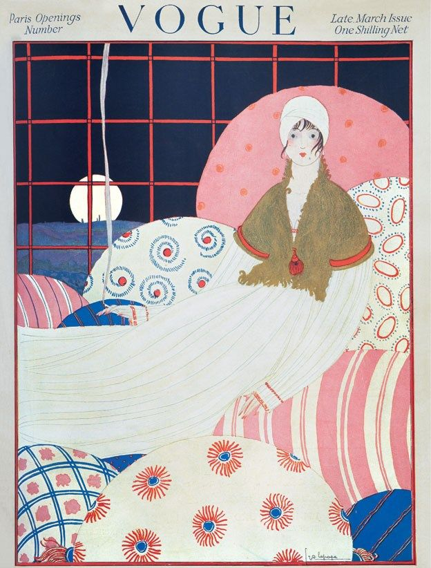 Late March 1917 Paris Openings Number Editor Elspeth Champcommunal Cover Art by Georges Lepape was born in Paris, France in 1887 who worked for many magazines, among them the Gazette Du Bon Ton, Femina, VOGUE, Harper's Bazaar and Les Feuillets D'Art, Modes et Manieres d'Aujourd'hui, and Vanity Fair. Lepape's work was strongly influenced by Orientalism and the Ballets Russes. Women in his illustrations are independent women with carefree attitude who started the age of the femme-garconne.
