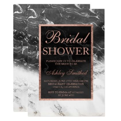 #invitations #wedding #bridalshower - #Rose gold black white marble block bridal shower card